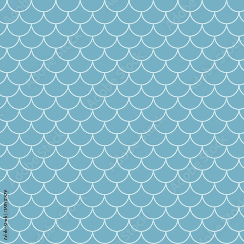 Tillable background for your fabric, textile design, wrapping paper, swimwear or wallpaper. Blue mermaid tail with fish scale underwater.