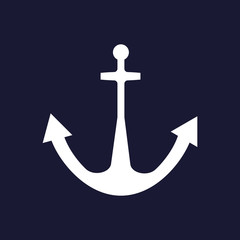 Anchor icon.  White vector icon on dark blue background.
