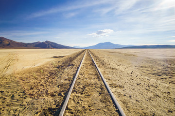 View on railroad by Uyuni in Altiplano of Bolivia