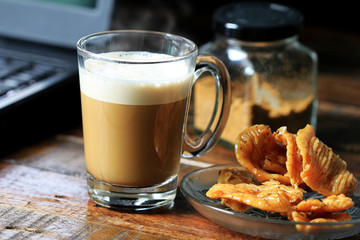 Cappuccino Coffee served with Thai Traditional Dessert