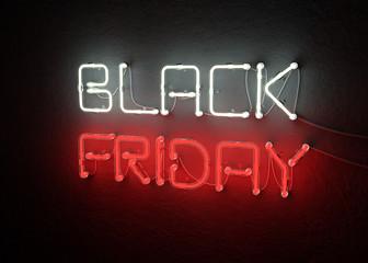 Black friday sale neon background. 3D illustration
