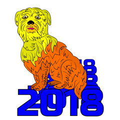Symbol of the year 2018, yellow dog sits on a figure, cartoon on a white background.