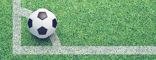 Banner con pallone da calcio su erba in campo