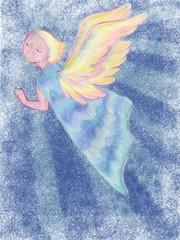 天使 少女 青背景