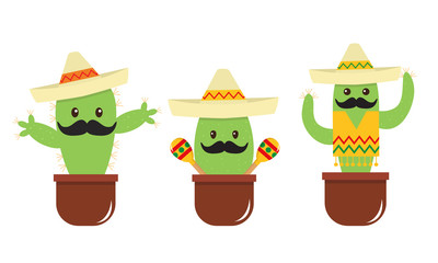 Mexican cute cartoon cactus with a mustache and sombrero. Flat style, bright colors. Funny face.