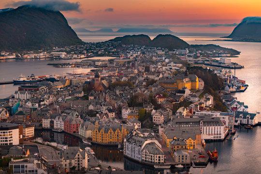 View of Alesund, Norway at sunset