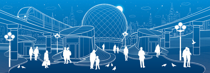 Modern city architecture. Entrance to the underpass. Futuristic urban illustration. People walking at street. Airplane fly. Night town. White lines on blue background, vector design art