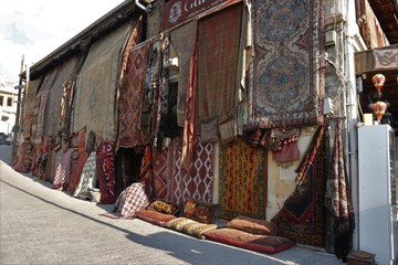 The exterior of an old traditional Turkish carpet shop in cappadocia, goreme,in turkey