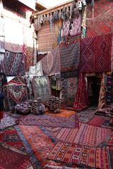 The interior of an old traditional Turkish carpet shop in cappadocia, goreme,in turkey