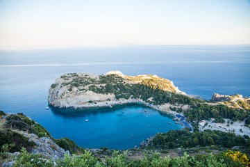 View from top on Anthony Quinn Bay and beach, Rhodes in Faliraki, Greece.Beautiful beach and bay on the island of Rhodes.