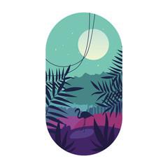 Tropical palm, landscape, silhouette of flamingos, logo design