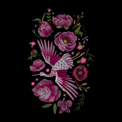 Crane bird, flowers, rose, plant. Traditional folk stylish stylish embroidery on the black background. Sketch for printing on clothing, fabric, bag, accessories and design. Vector, trend