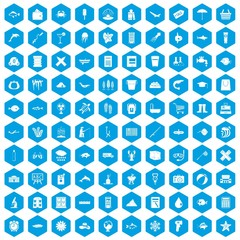 100 fish icons set blue