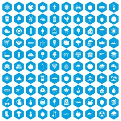 100 fruit icons set blue