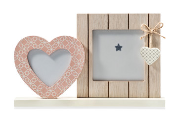 Decorative frame for photos, rectangular and in the shape of heart, isolated on white background