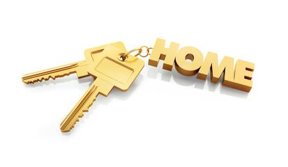Schlüsselanhänger HOME aus Gold