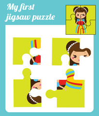 Puzzle kids activity. Complete the picture. Elementary jigsaw with cute girl princess. Educational game for pre school years children