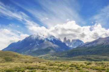 Torres del Paine National Park at the sunny day, Patagonia, Chile