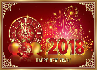 New Year 2018. Postcard with clock and fireworks on red background