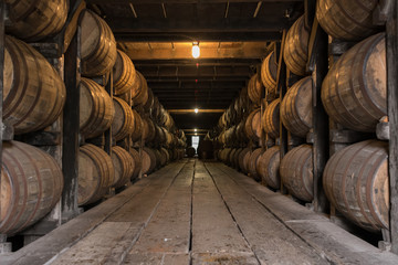 Fototapete - Low Angle of Bourbon Aging Warehouse Walkway