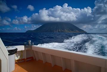 The summit of Stromboli is wrapped in clouds