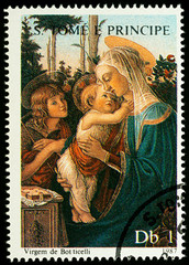 Painting Madonna with Child by Botticelli on postage stamp