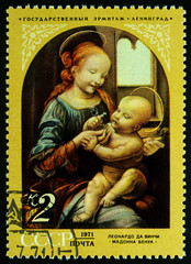 "Painting ""Bennois Madonna"" by Leonardo da Vinci on postage stamp"