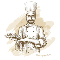 Smiling and happy chef with plate. Vector hand drawn illustration on artistic watercolor background.t