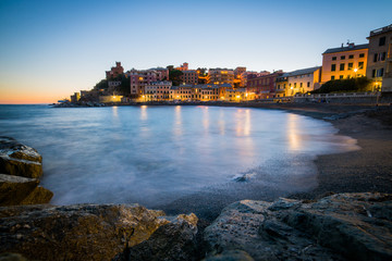 Romantic scenery of Genova at sunset, Italy august 2017