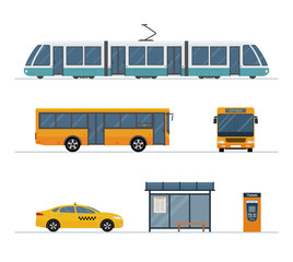 Flat style public transport. Set of city bus, taxi, tram and  bus stop isolated on white background. Vector illustration.