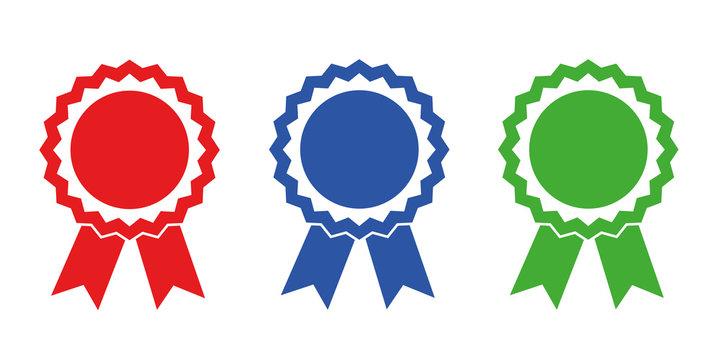 auszeichnung medaille set rot blau grün