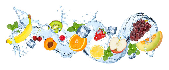 Acrylic Prints Fruits water splash panorama with various fruits ice cubes and fresh peppermint leafs isolated on white background