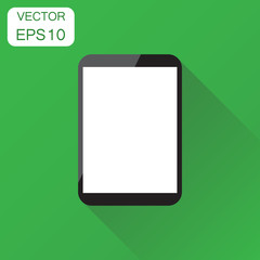 Tablet with white screen icon. Business concept computer pictogram. Vector illustration on green background with long shadow.