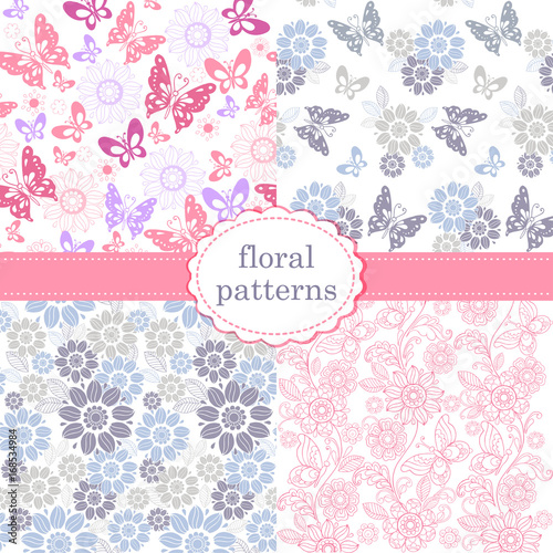 Set of patterns of flowers and butterflies in pastel pink and blue tones. Set of seamless vector patterns