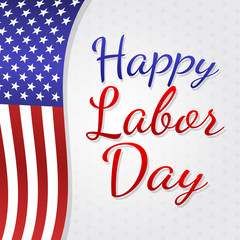 American Labor Day - banner with waving flag. Vector.