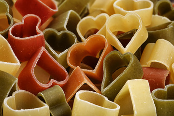 Wheat heart shaped pasta.
