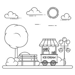 City landscape with bench, ice cream truck in central park. Vector illustration. Line art.
