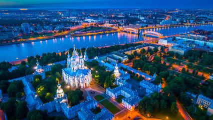 Smolensky temple. St. Petersburg view of the Neva River.