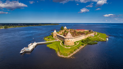 Fortress on the island. Fortress Strong nutlet. Ladoga lake.