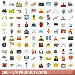 100 film product icons set, flat style