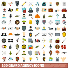 100 guard agency icons set, flat style