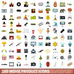 100 movie product icons set, flat style