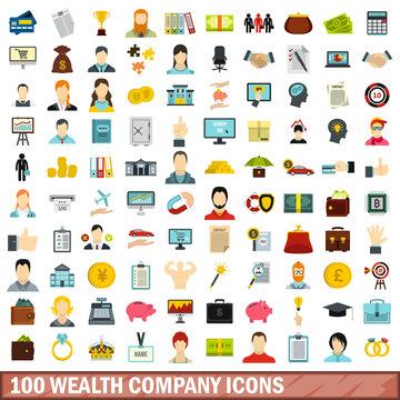 100 wealth company icons set, flat style