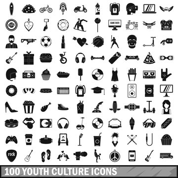 100 youth culture icons set, simple style