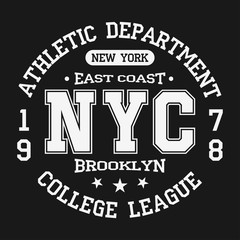 Vintage badge, athletic sport typography for t shirt print. Varsity style. T-shirt graphic