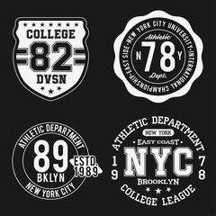 Vintage badges set, athletic sport typography for t shirt print. Varsity style. T-shirt graphic