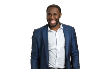Happy businessman wide smiling. Cheerful afro american guy in formal wear on white background.