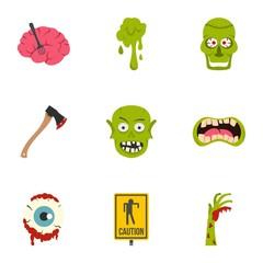Zombie icon set, flat style