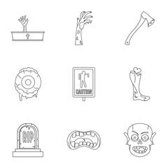 Zombie icon set, outline style