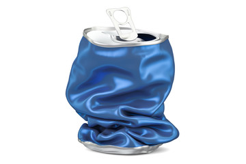 Crushed beverage can, 3D rendering